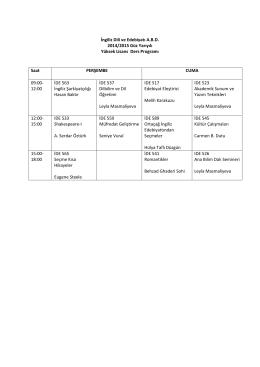 İngiliz Dili ve Edebiyatı A.B.D. 2014/2015 Güz Yarıyılı Yüksek Lisans