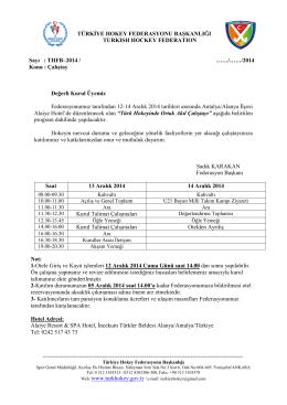 THFB–2014 - Türkiye Hokey Federasyonu