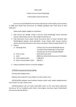 İHALE İLANI Türkiye İş Kurumu Genel Müdürlüğü Erkek Kuaförü