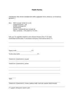 Fesih Formu İşbu yazı ile aşağıdaki ürünlerin satın alınması/hizmet