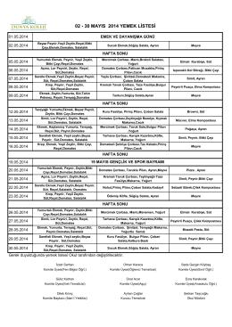 02 - 30 mayıs 2014 yemek listesi