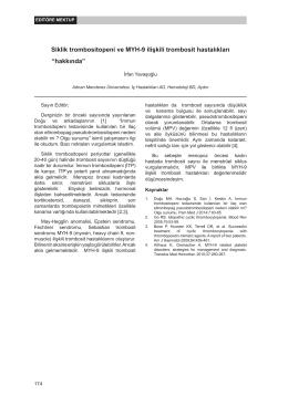 Siklik trombositopeni ve MYH-9 ilişkili trombosit