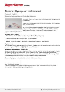 Duramax Hyamp sarf malzemeleri