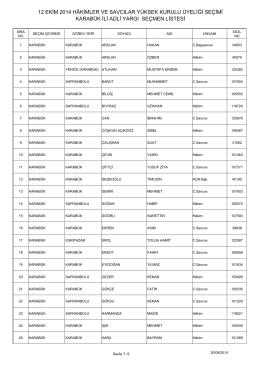 karabük ili adli yargı seçmen listesi 12 ekim 2014 hâkimler ve