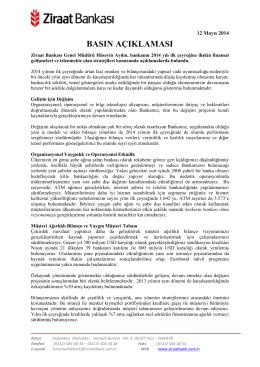 12 Mayıs 2014 - Ziraat Bankası