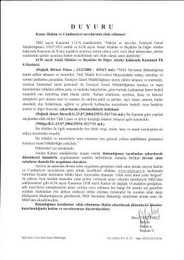 İdarî ve Malî İşler Dairesi Başkanlığı Hakim ve Cumhuriyet