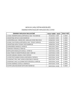 Okul Onarım İhaleleri - Antalya Milli Eğitim Müdürlüğü