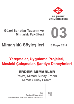 Mimar(lık) Söyleşileri 13 Mayıs 2014
