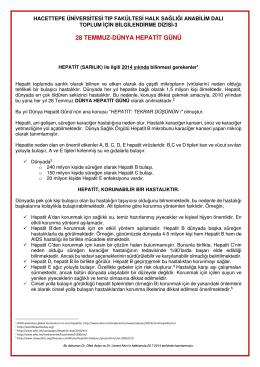 28 TEMMUZ-DÜNYA HEPATİT GÜNÜ - Hacettepe Üniversitesi Tıp