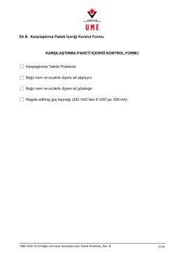 Ek B Karşılaştırma Paketi İçeriği Kontrol Formu KARŞILAŞTIRMA