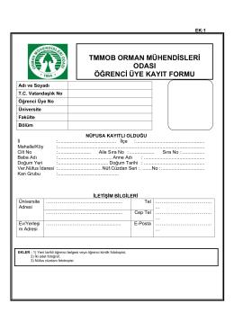 tmmob orman mühendisleri odası öğrenci üye kayıt formu