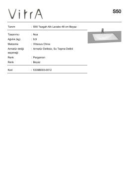 Tanım : S50 Tezgah Altı Lavabo 48 cm Beyaz Tasarımcı : Noa