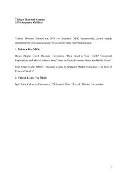 Türkiye Ekonomi Kurumu 2014 Araştırma Ödülleri Türkiye Ekonomi