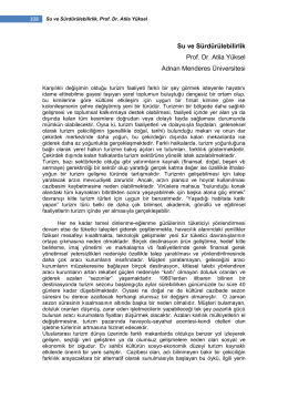Su ve Sürdürülebilirlik - Journal Of Travel and Hospitality Management