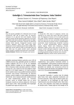Vaka Takdimi - Kocatepe Tıp Dergisi