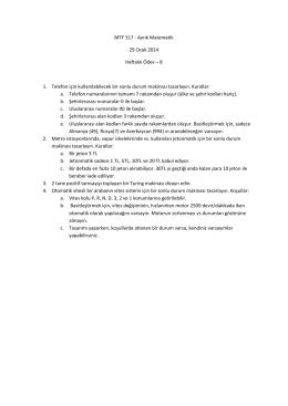 MTF 317 - Ayrık Matematik 29 Ocak 2014 Haftalık Ödev – 8 1