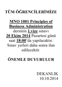 MNO 1001 Principles of Business Administration dersini alan