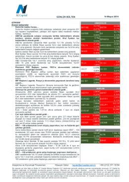 GÜNLÜK BÜLTEN 14 Mayıs 2014 Araştırma ve