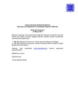 27.05.2014 Türkiye Bankalar Birliği Risk Merkezi Kamuoyu ile