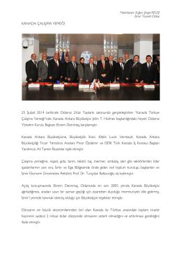 KANADA ÇALIŞMA YEMEĞİ 25 Şubat 2014 tarihinde Odamız 2.Kat