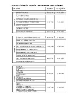 2014-2015 öğretim yılı güz yarıyılı ders kayıt günleri