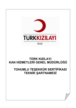 Teknik Şartname - Türk Kızılayı