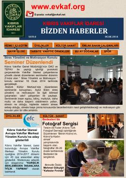 www.evkaf.org BİZDEN HABERLER - Kıbrıs Vakıflar İdaresi EVKAF