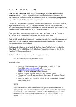 ord. prof. dr. fahrettin kerim gökay poster ödülü