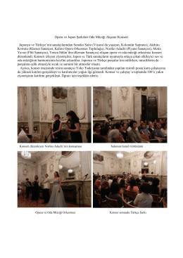 Opera ve Japon Şarkıları Oda Müziği Akşamı Konseri Japonya ve