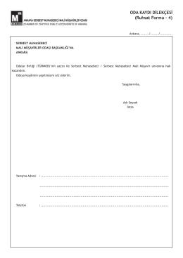 ODA KAYDI DİLEKÇESİ (Ruhsat Formu - 4)