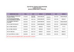 diş protez teknolojisi programı 1.sınıf 2013