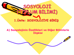 SOSYOLOJİ (TOPLUM BİLİMİ)