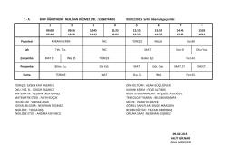 7-A Sınıfı Ders Programı
