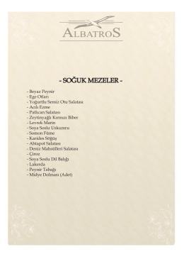 SOĞUK MEZELER - Albatros Restaurant