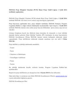 İSEDAK Proje Döngüsü Yönetimi (PCM) İkinci Proje Teklif Çağrısı 1