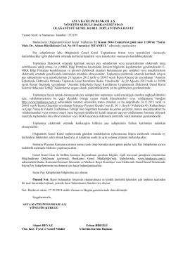 22 Kasım 2014 - Olağanüstü Genel Kurul Gündem ve