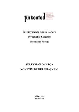 İş Dünyasında Kadın Raporu Diyarbakır Çalıştayı