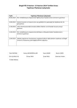 Bingöl PİE 09-13 Haziran Haftalık İş Programı