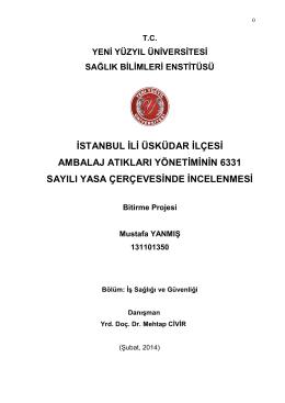 istanbul ili üsküdar ilçesi ambalaj atıkları yönetiminin 6331 sayılı