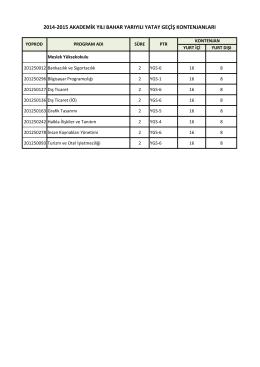 2014-2015 akademik yılı bahar yarıyılı yatay geçiş kontenjanları