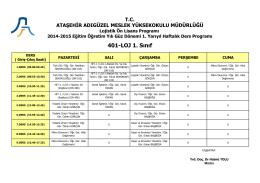 401-LOJ 1. Sınıf - Ataşehir Adıgüzel Meslek Yüksekokulu