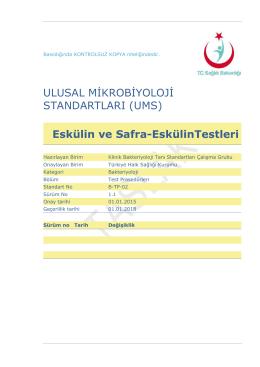 Bile-eskülin hidrolizi - Türkiye Halk Sağlığı Kurumu