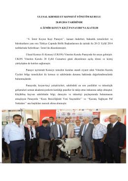 4. İzmir Koyun Keçi Panayırı Bilgi Notu
