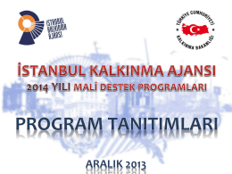 PROGRAMIN ÖNCELİKLERİ - İstanbul Kalkınma Ajansı