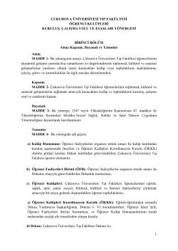 ÖĞRENCİ KULÜPLERİ YÖNERGESİ - Çukurova Üniversitesi Tıp