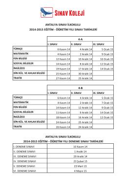 2014-2015 eğitim - Antalya Sınav Koleji
