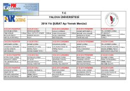T.C YALOVA ÜNİVERSİTESİ 2014 Yılı ŞUBAT Ayı Yemek Menüsü