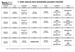 7. sınıf aralık 2014 akademik çalışma takvimi