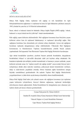 Dünya Ruh Sağlığı Günü - İstanbul Anadolu Güney Kamu