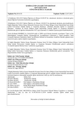 YKK.22.07.2014 - Tıp Fakültesi - İzmir Katip Çelebi Üniversitesi